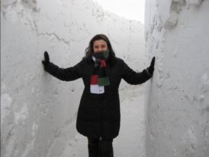 In a snow maze