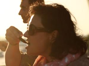 Zeynep eating mussels in Istanbul